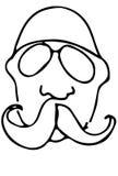 Schets van een kale mens met een snor die glazen dragen Stock Foto's