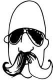 Schets van een kale mens met een snor die glazen dragen Stock Foto