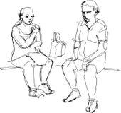 Schets van een kerel en een meisje die roomijs eten Stock Afbeeldingen