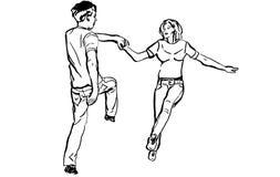 Schets van een kerel met een meisjes dansend rots-n-broodje Stock Foto