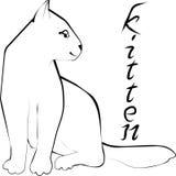 Schets van een klein katje met een inschrijving Royalty-vrije Stock Foto