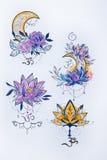 Schets van een lotusbloem en een maan op witte achtergrond Royalty-vrije Stock Foto