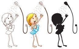 Schets van een meisje die douche nemen Stock Foto