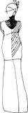 Schets van een meisje in een lange kleding Royalty-vrije Stock Foto's