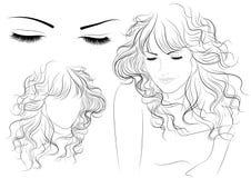 schets van een meisje met lang haar stock illustratie
