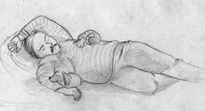 Schets van een mens en zijn huisdieren Stock Afbeelding