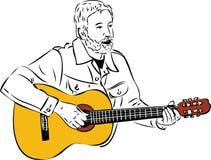 Schets van een mens met een baard die een gitaar speelt Royalty-vrije Stock Afbeelding