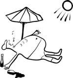 Schets van een mens in slaap onder de schroeiende zon Stock Afbeeldingen