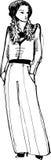 Schets van een mooi meisje in een pantsuit Stock Foto