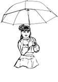 Schets van een mooi meisje onder de grote paraplu Stock Afbeelding