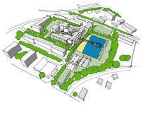 Schets van een nieuwe ontwikkelings stedelijk idee Stock Afbeeldingen