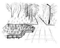Schets van een park stock afbeeldingen