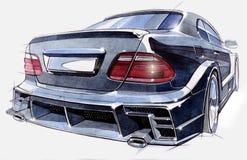 Schets van een sportwagen achtermening Illustratie Stock Afbeelding