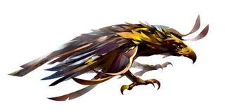 Schets van een vliegende vogel Het beeld van een adelaar op een witte achtergrond stock illustratie