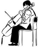 Schets van een vrouw die een celloboog speelt Stock Foto