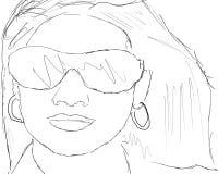 Schets van een vrouw headshot Stock Afbeelding