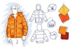 Schets van een warm jasje Stock Afbeeldingen