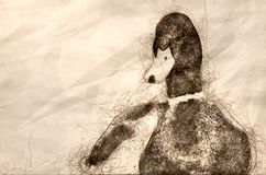 Schets van een Wilde eend Duck Resting Along bij de Rand van het Water vector illustratie