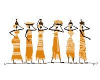 Schets van etnische vrouwen met kruiken voor uw ontwerp royalty-vrije illustratie