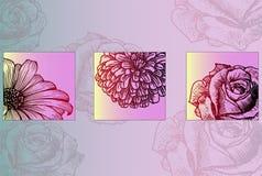 Schets van heldere mooie bloemen - klaar om affiche te drukken Stock Afbeeldingen