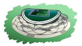 Schets van het belangrijkste stadion in Kazan Stock Foto's
