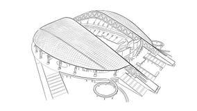 Schets van het belangrijkste stadion in Sotchi Royalty-vrije Stock Afbeeldingen