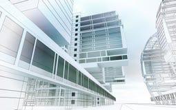 Schets van het commerciële centrum. Stock Illustratie
