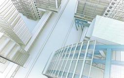 Schets van het commerciële centrum. royalty-vrije stock afbeeldingen