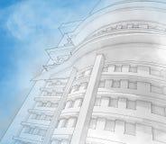 Schets van het commerciële centrum. Royalty-vrije Stock Afbeelding