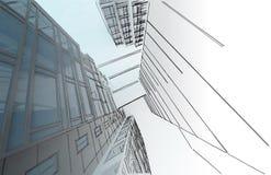 Schets van het commerciële centrum. stock afbeelding