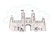 Schets van het de poortenkasteel van lijn de kunst geïsoleerde Kilkenny royalty-vrije illustratie