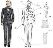 Schets van het kostuum van de klassieke mensen Stock Fotografie