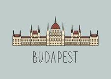 Schets van het Parlement van Boedapest Stock Afbeeldingen