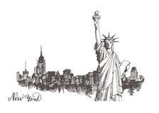 Schets van het standbeeld van vrijheid vector illustratie