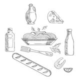 Schets van Italiaans deegwaren en voedsel Stock Fotografie