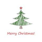 Schets van Kerstmiskaart Spar met een rode ster en met inschrijvings Vrolijke Kerstmis Vector illustratie Royalty-vrije Stock Fotografie