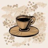 Schets van koffiekop met sommige koffiebonen stock illustratie