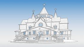 Schets van Landgoed van Ded Moroz in Velikiy Ustyug vector illustratie