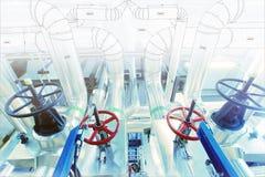 Schets van leidingenontwerp aan industriële materiaalfoto die wordt gemengd stock afbeeldingen