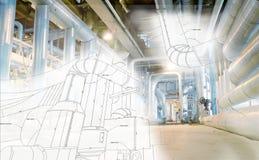 Schets van leidingenontwerp aan industriële materiaalfoto die wordt gemengd stock afbeelding