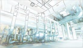 Schets van leidingenontwerp die aan elektrische centralefoto wordt gemengd stock illustratie