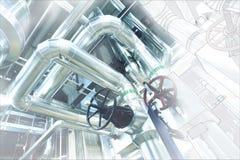Schets van leidingenontwerp met industriële materiaalfoto royalty-vrije stock afbeeldingen
