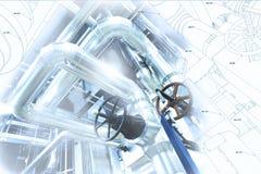 Schets van leidingenontwerp met industriële materiaalfoto stock afbeeldingen