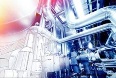 Schets van leidingenontwerp met industriële materiaalfoto die wordt gemengd stock afbeelding