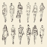 Schets van maniermeisjes getrokken vectorillustratie Royalty-vrije Stock Foto's
