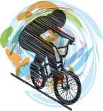 Schets van Mannetje op een fiets Royalty-vrije Stock Afbeelding