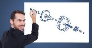 Schets van mechanisme en mensentekening royalty-vrije stock afbeelding