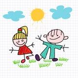 Schets van meisje en jongen Stock Afbeeldingen