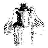 Schets van meisje in sweater met hoofd door kraag wordt verborgen die Stock Foto
