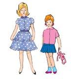 Schets van meisjes verschillende leeftijden in retro varkenskot stock illustratie
